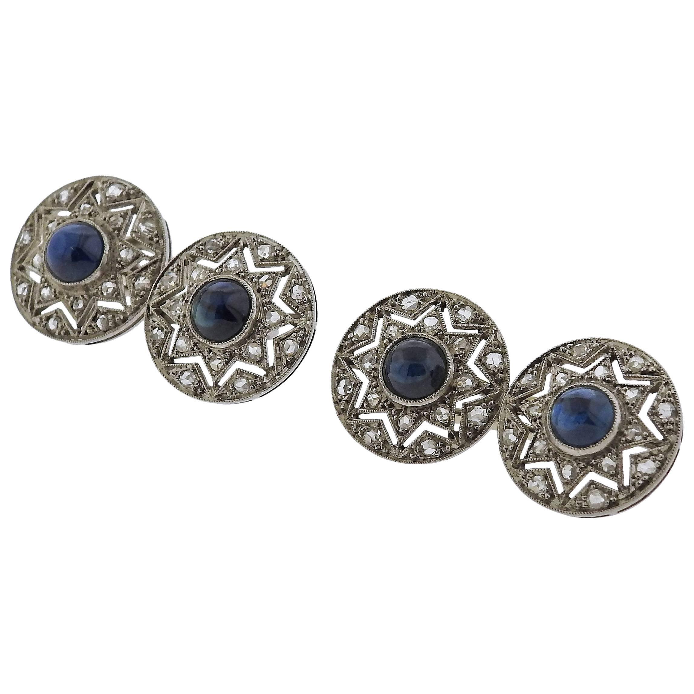 Art Deco  Diamond Sapphire  Platinum Cufflinks