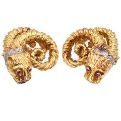 Zolotas Diamond Gold Ram Head Earrings