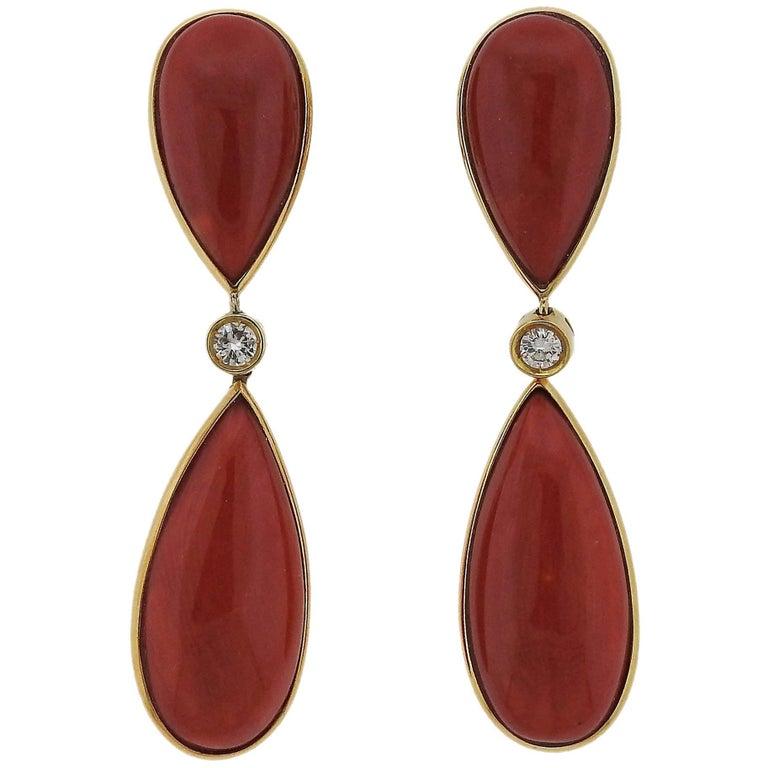 Gold Red Coral Diamond Tear Drop Earrings