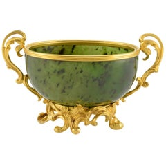 Antique Fabergé Imperial Russian Gold and Carved Nephrite Bowl