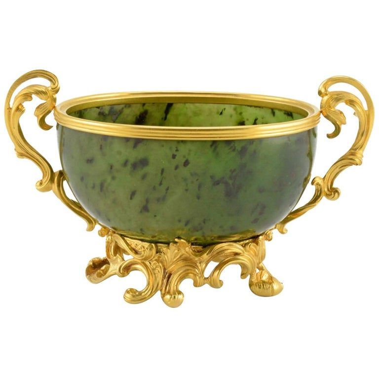 Antique Fabergé Imperial Russian Gold and Carved Nephrite Bowl 1