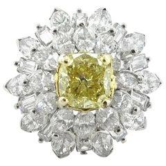 1.64 Carat Fancy Light Yellow Cushion Cut Diamond Ring, GIA Certificate