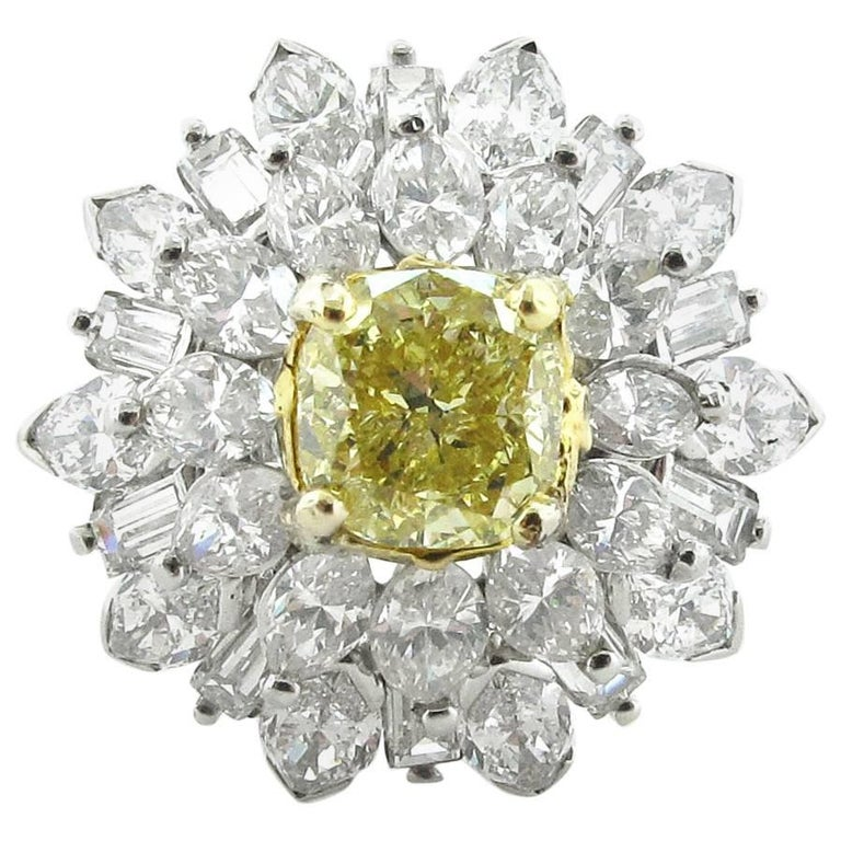 1.64 Carat Fancy Light Yellow Cushion Cut Diamond Ring, GIA Certificate