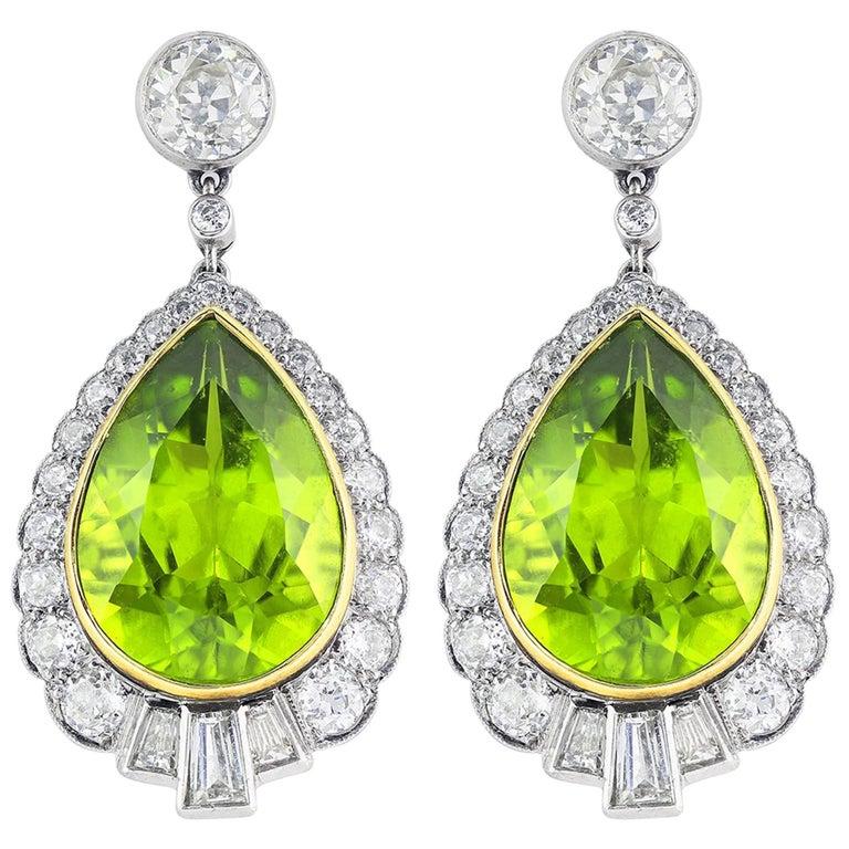 12.00 Carat Peridot Diamond Drop Earrings