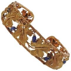 Buccellati Gold Carved Sapphire Leaf Motif Cuff Bracelet