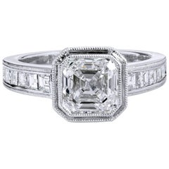 H & H 2.00 Carat Square Emerald Cut Diamond Engagement Ring