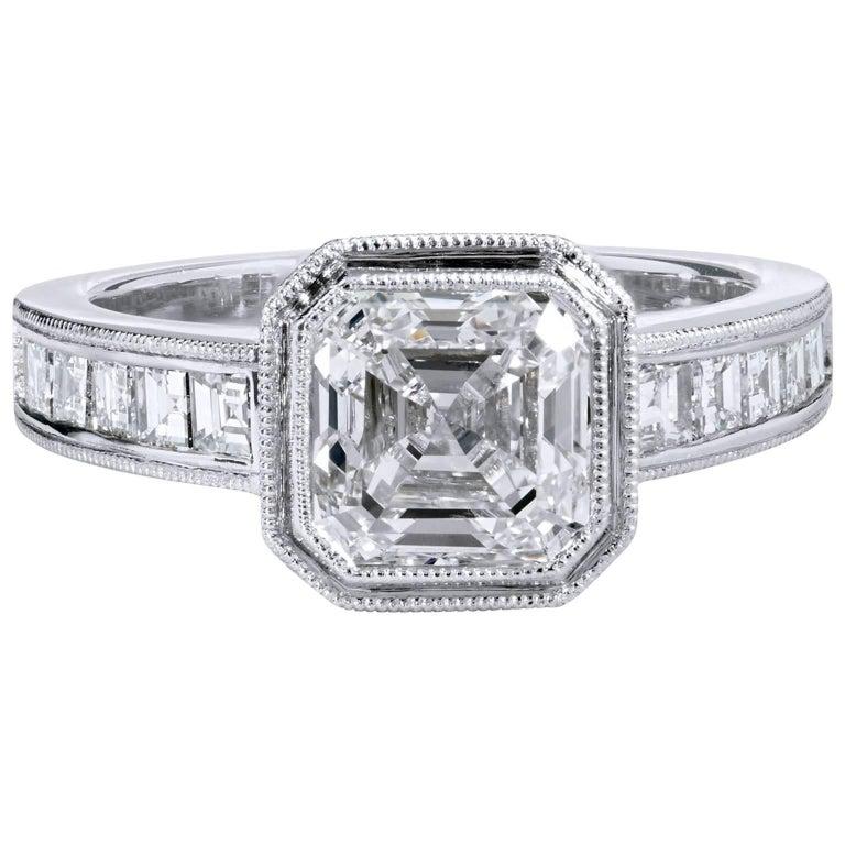 H & H 2.00 Carat Square Emerald Cut Diamond Engagement Ring