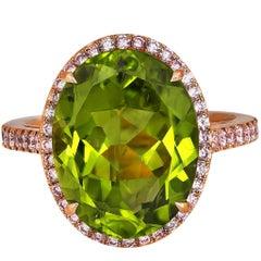 8.45 Carat Peridot Pink Diamond Rose Gold Ring