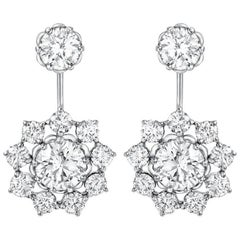 Platinum Floral Design D VVS 1 4.64 Toal Carat Weight GIA Certified Ear Jacket
