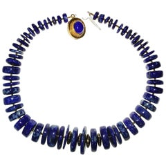 Statement Lapis Lazuli Graduated Rondel Choker Necklace