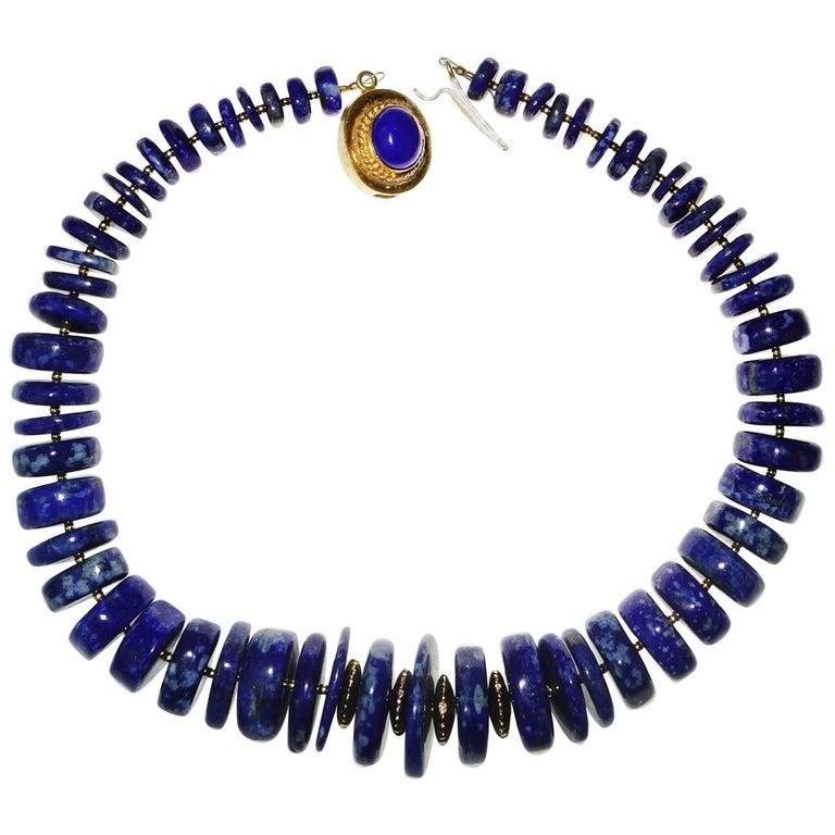 Statement Lapis Lazuli Graduated Choker Necklace