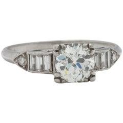 Vintage Engagement Ring Platinum 0.85 Carat OEC J-VS2, circa 1930s