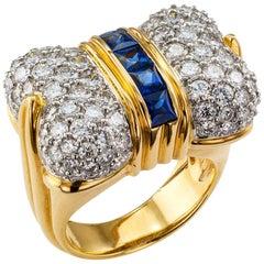 1980s Bow Ring Diamond Sapphire Gold Platinum