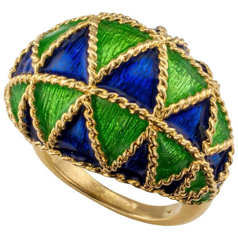 1970s Domed Gold Ring with Blue and Green Enamel