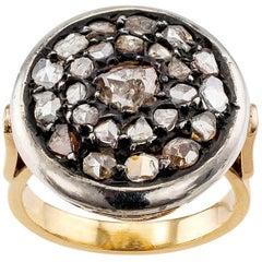 Antique 1910 Rose-Cut Diamond Gold Silver Ring