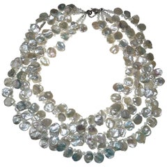 Five Strand Iridescent Keshi Pearl Necklace with Diamond studded Clasp