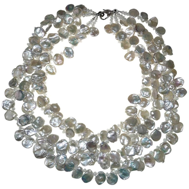 Multi Strand Keshi Pearl Necklace with Diamond studded Clasp