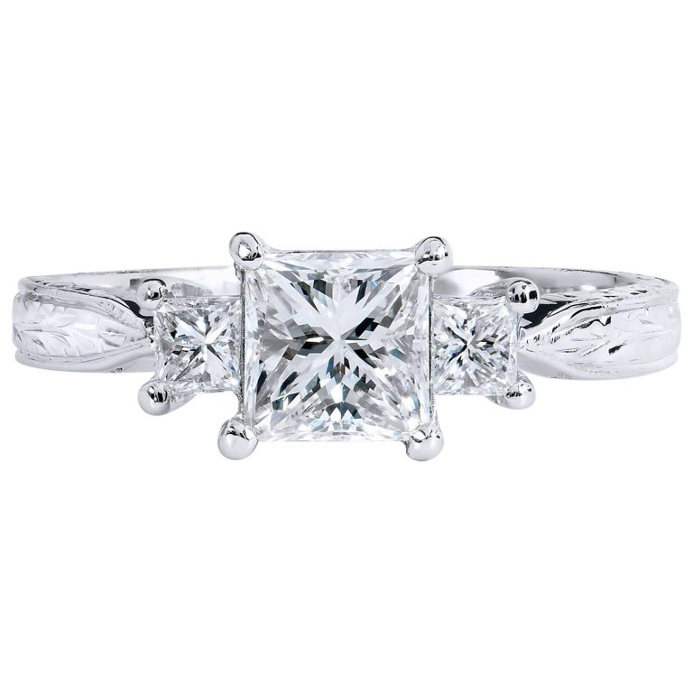 1.00 Carat Three Diamond Engagement Ring
