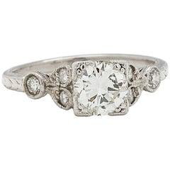 Engraved Engagement Ring Platinum 0.77 Carat F-VS2