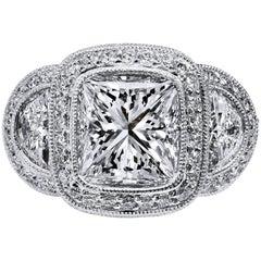 GIA Certified 3.47 Carat Square Brilliant Diamond Platinum Engagement Ring