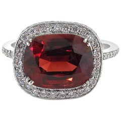 3.40 Carat Spinel Diamond Platinum Ring