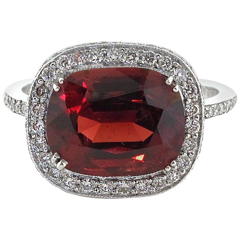 3.40 Carat Spinel Diamond Platinum Ring