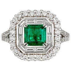 2.40 Carat Emerald and Diamonds Dress Ring
