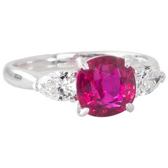 Handmade Unheated Mozambique Ruby and Diamond Ring