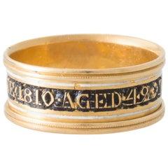 Georgian Black and White Enamel Mourning Ring