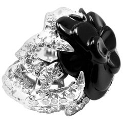 Chanel Camelia Camellia Flower Diamond Onyx White Gold Ring