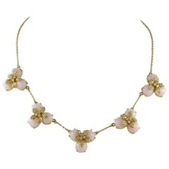 Pink Opal and Diamond Vintage Necklace