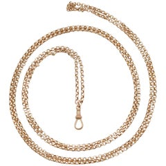 1890s Victorian Yellow Gold Longuard Chain