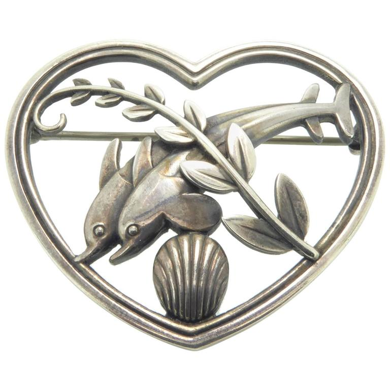 7d3185d4110e Georg Jensen Vintage Silver Brooch, Leaping Dolphins, Mid-20th Century,  Danish For
