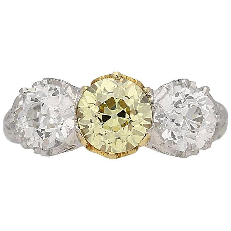 Edwardian Fancy Color Yellow and White Diamond Three-Stone Ring