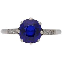 Edwardian Natural Royal Blue Kashmir Sapphire Diamond Ring