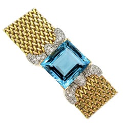 Retro Natural Aquamarine Diamond Bracelet