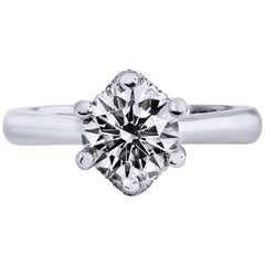 H & H 1.57 Round Brilliant Cut Diamond Engagement Ring