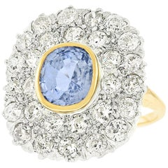 Art Deco Sapphire and Diamond Set Gold Ring
