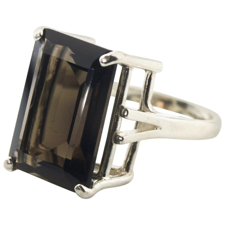 13.2 Carat Real Smoky Quartz Sterling Silver Party Ring
