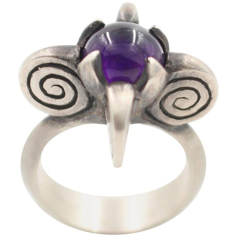 sterling silver amethyst four spiral ring for sale at 1stdibs