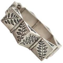 Sterling Silver Amethyst White Saphhire Link Bracelet