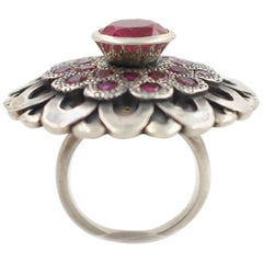 Sterling Silver and Ruby Floral Ring
