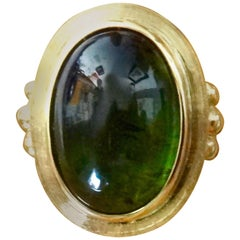 "Michael Kneebone Green Cabochon Tourmaline 18 Karat Gold ""Relic"" Ring"