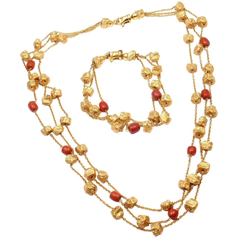 Roberto Coin Coral and Yellow Gold Nuggets Set of Bracelet and Necklace