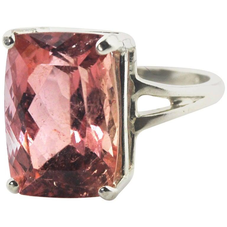 8.12 Carat Pink Tourmaline Sterling Silver Ring