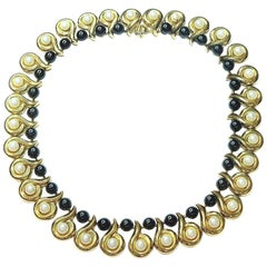Cultured Pearls Onyx Gold Necklace
