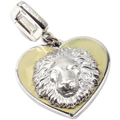 Louis Vuitton Be Well Lion Sapphire Enamel White Gold Charm Pendant