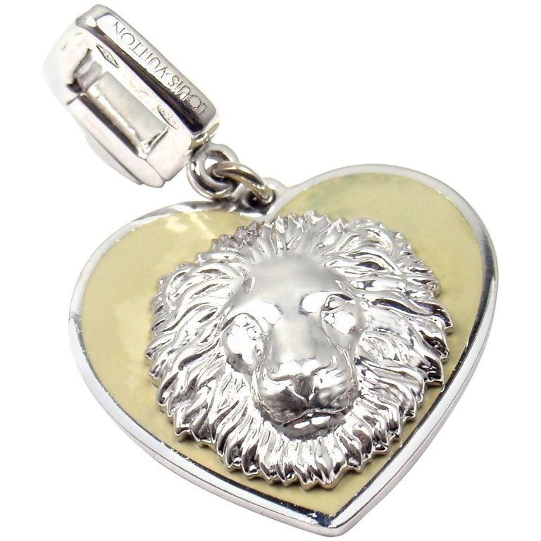 Louis Vuitton Be Well Lion Sapphire Enamel White Gold Charm Pendant