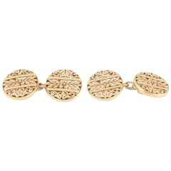 Floral 18ct carved Gold French Cufflinks, circa 1900