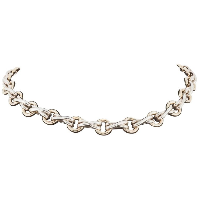 Tiffany & Co. Gold and Silver Link Collar Necklace, circa 1960-1970